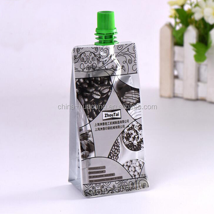 Customized Reusable Juice Drink Food Packaging Bag spout pouch bag / Liquid Stand up Spout Pouch with Top