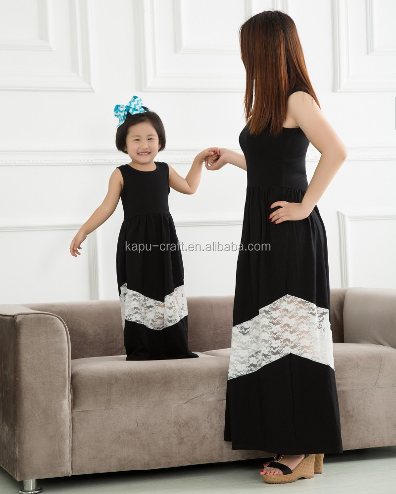 Wholesale mom and daughter dress design latest maxi dresses OEM seivice 100% cotton long dress