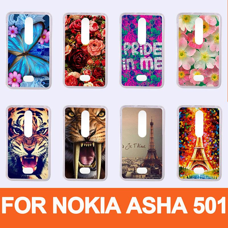 hot pattern painting colored Case For Nokia Asha 501 / diy Hard Plastic transparent Cases Cover for nokia Asha 501 n501