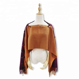 women and ladies wool cashmere knit winter cape shawl poncho
