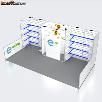 Quick Setup Modular Aluminum Alloy LED Portable Slat Wall Display with Shelves and Storage Room