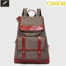 Hot Fashion Canvas Cow Leather Outdoor Men's Women's Backpack Travel Hiking Laptop Sports School Shoulder Bag