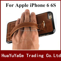 Hot selling phone case Hand buckle Strap Leather back cover credit Card Slot stand holder Bracket Case for Apple iPhone 6 6S
