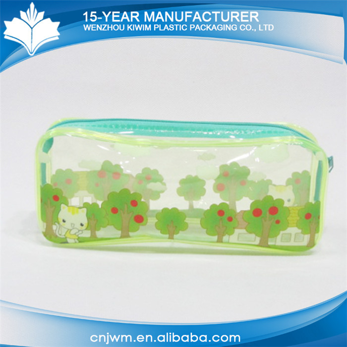 Quick delivery waterproof transparent zipper clear pvc fancy pencil case