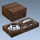 Folding Square Wood Table Cigar Ashtray Antique Style With Cutter Smoking Accessories Set