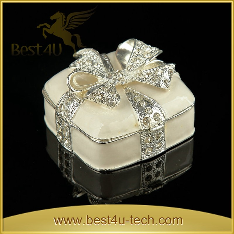 Beautiful Zinc Alloy Jewelry Boxes Blue Box for Earring