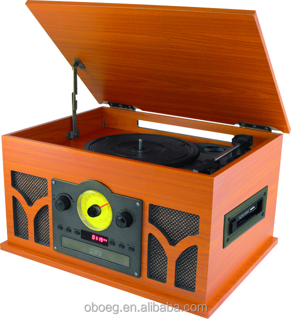 Hot selling low price retro USB turntable record player with dust cover