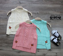 O-neck solid colour knit sweater vest for baby girl