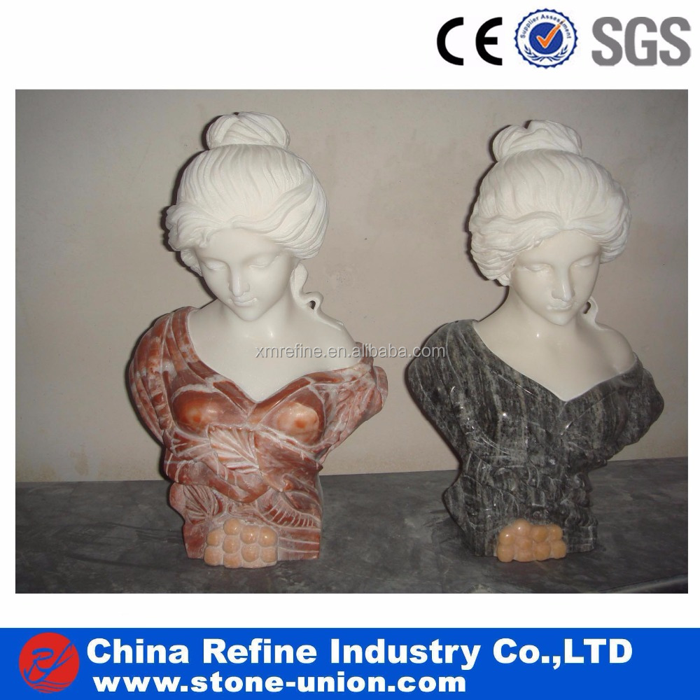 Head Carved Colorful Marble Woman Statue China Factory Wholesale