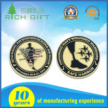 Custom made metal zinc alloy soft enamel souvenir 1oz silver coins with decorative pattern
