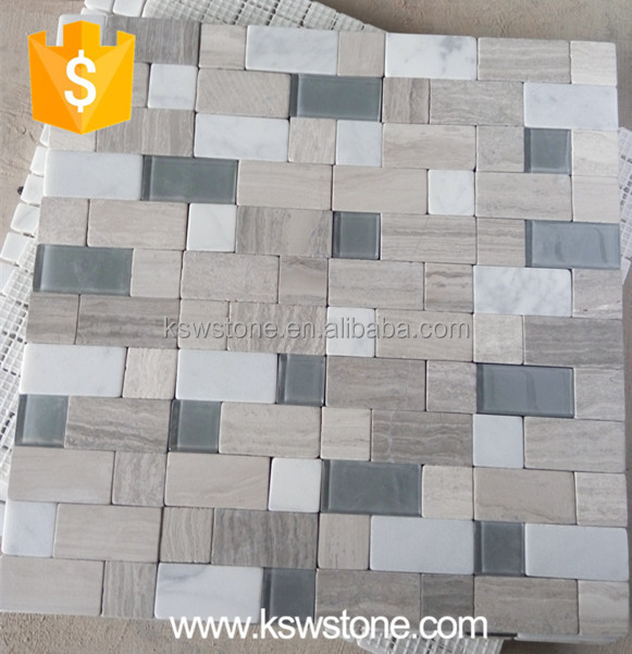 glass mosaic mixed with marble stone mosaic