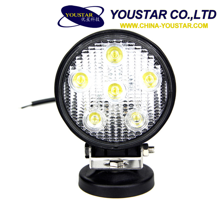 Best auto led lighting 1200 lumens 18w round led work light for agriculture minitary heavy machine