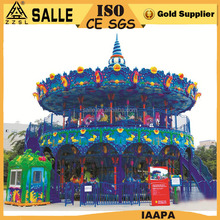 Deluxe big carnival ride double layer ocean carousel merry go round for kids