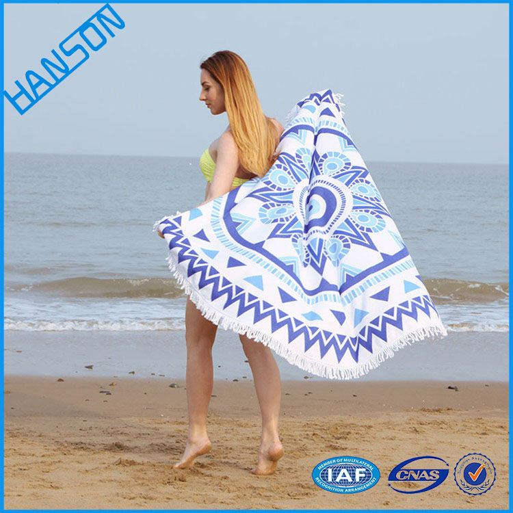embroidered new style 100% organic cotton round beach towels cheap price