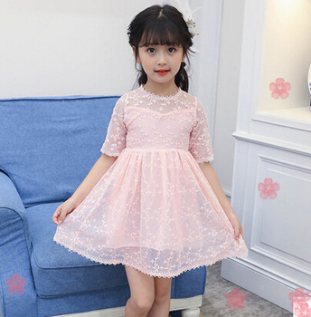 New in Girls Pink and White Short Sleeve Lace Ruffle Party Dresses
