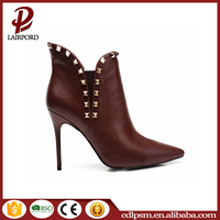 China wholesale Free sample rubber sole pointed toe PU leather thin high heel low boots ladies with rivets 2016