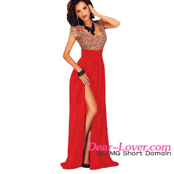 Dear Lover Wholesale Women Amazing Gold Lace Overlay Red Slit Long Evening Gowns