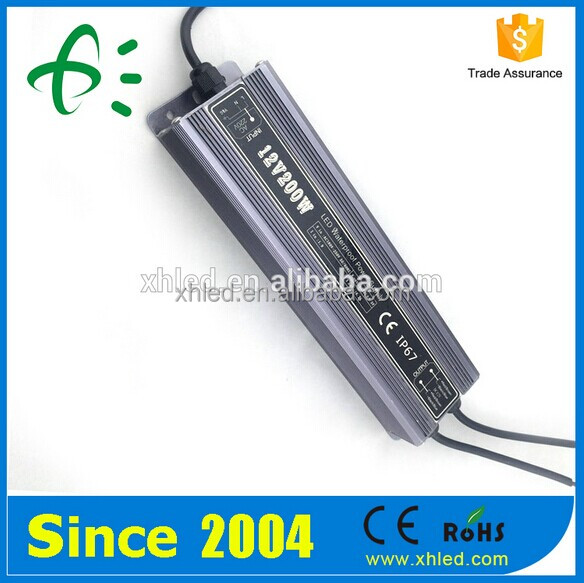 High Power IP67 Constant Voltage AC DC 12V 24V 200W LED Driver With Warranty 2 years