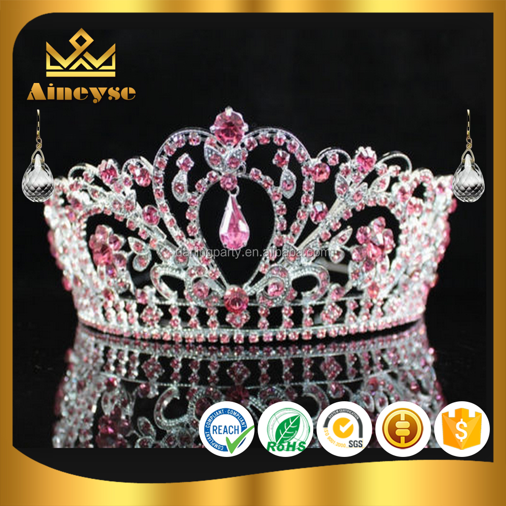pink large pageant crown with rhinestone made by alloy