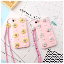OEM 3d flower cute korean rubber phone housing case for iphone 7 plus