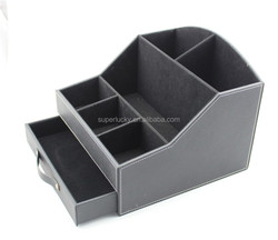 customized PU leather office desk organizer