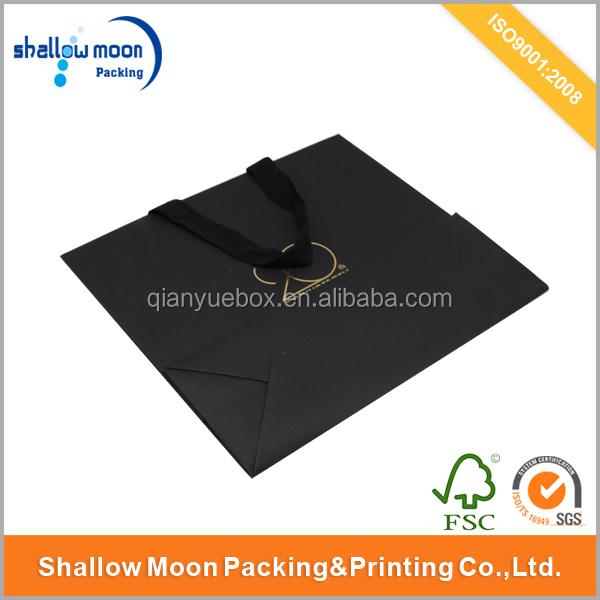 OEM printing glossy black card paper carrier bag for shopping