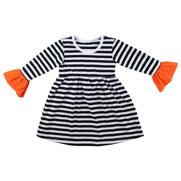 cute girl orange bell sleeve dress strip white &black above knee babygirl spring frock designs kids clothes