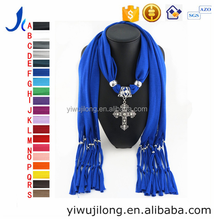 The cross pendant jewellery scarf
