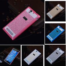 Glitter powder hard plastic mobile cell phone back case for Sony Xperia Z2 Z3 Z4 cover case