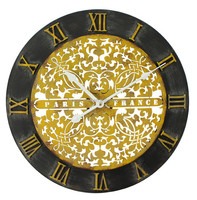 40cm black mdf with yellow carved iron office wall clocks