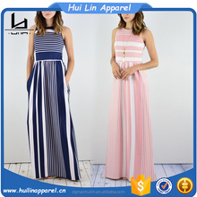 clothing women summer 2017 sleeveless striped side pocket maxi straight fit dresses