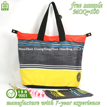 cheap recycled custom foldable 190t colorfull waterproof polyester shopping tote bag with small bag
