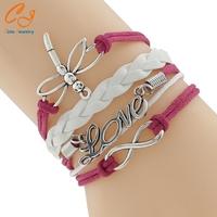 Dragonfly shape Charm bracelet,Personalized Message Bracelet,Engraved Metal Infinity Love bracelet
