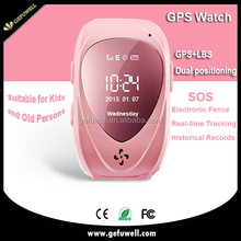 "CE colorful fashion 0.96"" OLED screen GPS+LBS dual-mode positioning waterproof gps tracking watch"