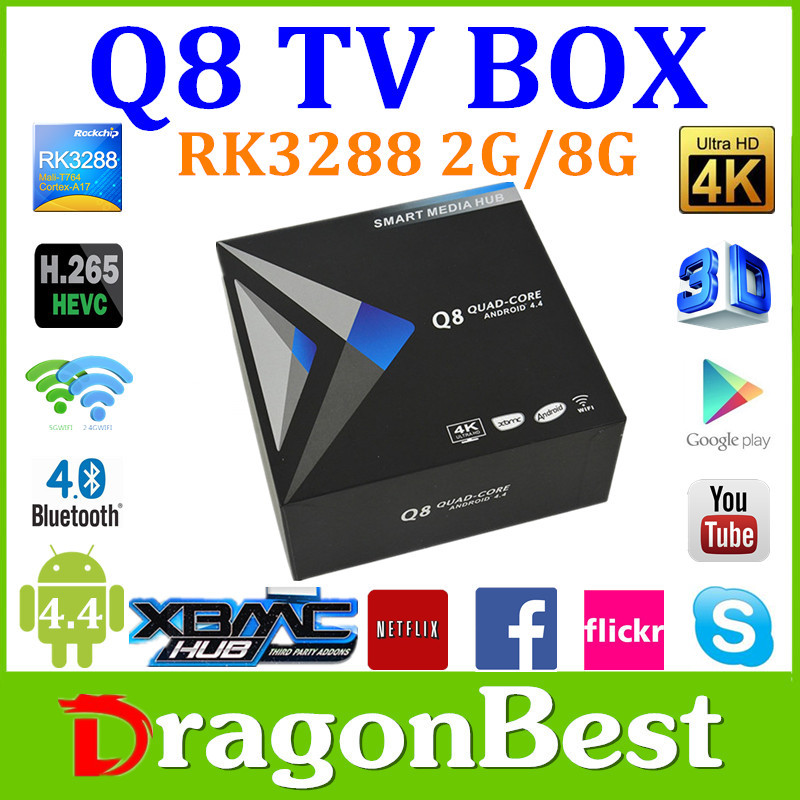 Android 4.4 smart Q8 tv box Rockchip rk 3288 tv box 2G/8G Pre-installed XBMC 13.1 support Wifi+Bluetooth+Youtube+3D