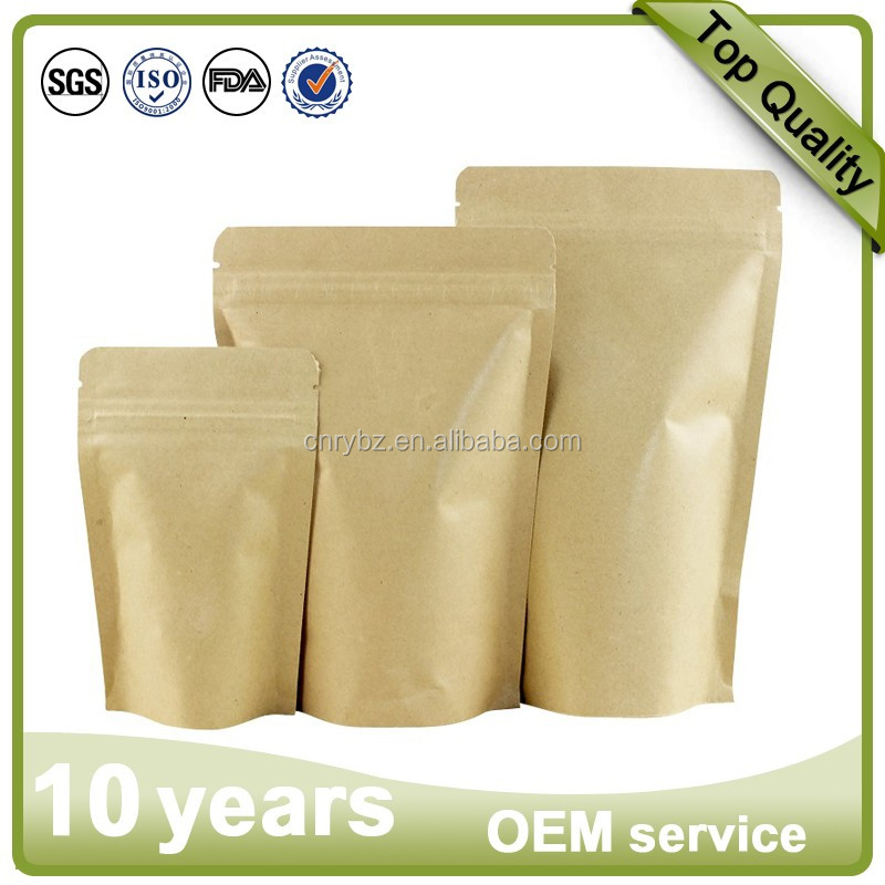 Customized 250g 500g Kraft Paper bags Resealable stand up coffee tea pouch/aluminum foil ziplock packaging pouch with Valve