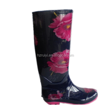 ladies big flower print PVC rain boots,new design jelly shoes,chemical resistant working 2016 women flat shoes