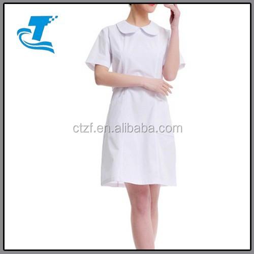 Short Sleeve Hospital Nurse O-Neck Lab Coat Uniform