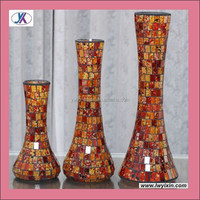 Manufacturer crackle mosaic glass cylinder vase