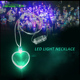 Led necklace wholesale magnetic heart necklace christmas led light flashing necklace