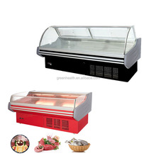 Hot selling in North America fresh meat showcases / deli food display counter / supermarket open air curtain cooler