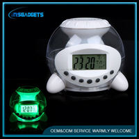 Unique table clocks ,H0T456 table alarm clock with 7 color changing light and natural sound for sale