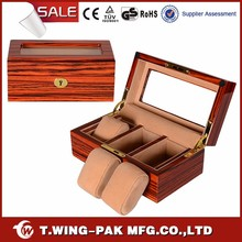 High quality handcrafted high gloss finished velvet luxury watch collection and display box for three watches