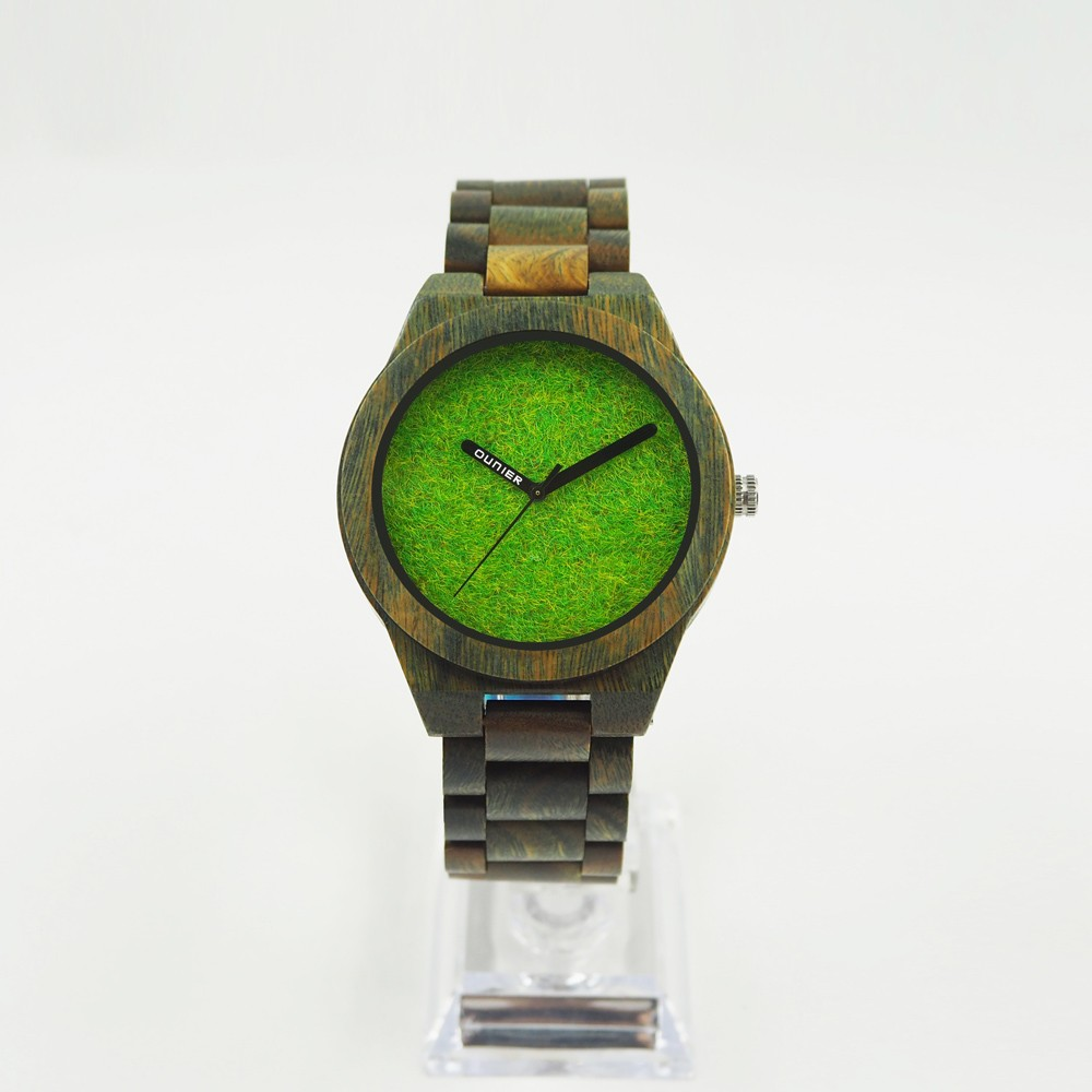 HOT Clock all green sandal wood watch strap mens watches in wristwatches dropshipping green dial wood watches 2018