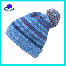Trade assurance blue style knitted winter hats Custom Floral Beanie Hat with pompom