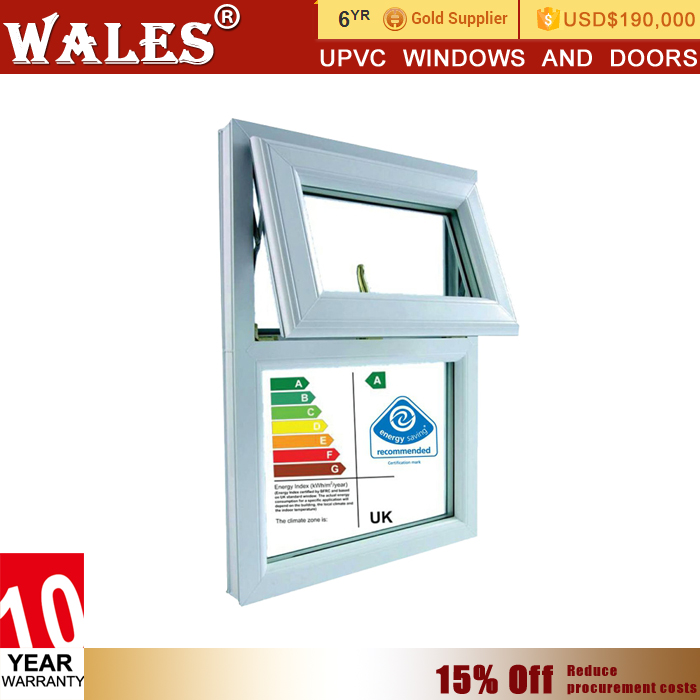 Whole glass design balcony type sliding upvc platic door cum window