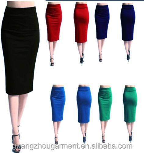 ladies OL Wear Stretch plain office skirt, women stretch bodycon work career long pencil skirt, plus size business skirt