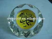 Crystal glass muhammad diamond paperweight , glass crystal islamic religious diamond bomboniere MH-L0195