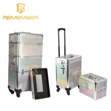 Rolling Cosmetic Makeup Case 2 IN 1 Make Up Artist Case Aluminum Construction Case camera bag waterproof