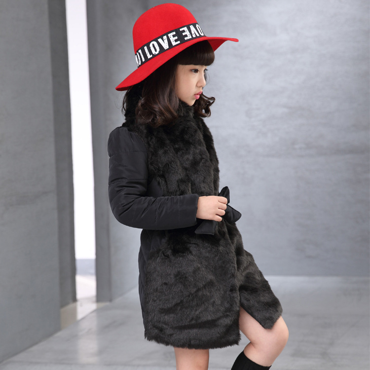 XH24 Custom Baby Girls Hooded Super Soft Faux Winter Fur Coat/Kids Faux Fur Jacket Wholesale